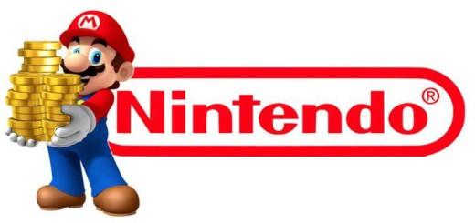 Nintendos Maskottchen Mario neben dem Nintendo Logo