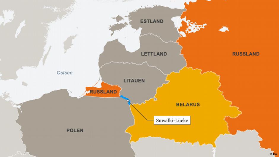 Die Lücke von Suwałki: Hier könnte theoretisch ein russischer Angriff den einzigen Nachschubweg der NATO ins Baltikum abschneiden