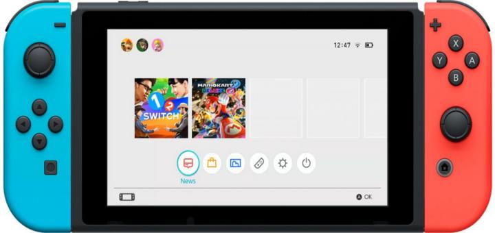 Der Home Bildschirm der Nintendo Switch!
